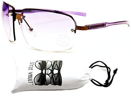 E3073-VP Style Vault Rimless Oversized Sunglasses (B3098F Bronze/Purple-Purple, - Sunglasses Rimless Rectangle