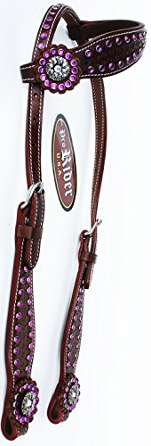 PRORIDER-Horse-Saddle-Tack-Bridle-Western-Leather-Headstall-Brown-Rodeo-78183Co1