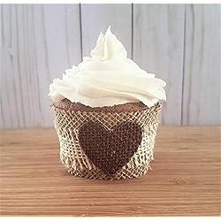 Fall Wedding Cupcake Wrappers, Burlap Cupcake Wrappers Bridal Shower, Wedding Cupcake Wraps, Rustic Fall Baby Shower Cupcake Wrappers, 12 Standard Size