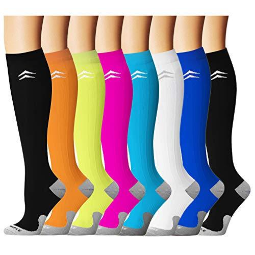 Bluemaple Compression Socks for Women & Men - Best for Running, Athletic Sports, Crossfit, Flight Travel -Maternity Pregnancy, Shin Splints - Below Knee High -