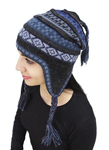 - Superfine 100% Alpaca Wool Handmade Intarsia Chullo Ski Hat Beanie Aviator Winter (Charcoal Gray/Blue)