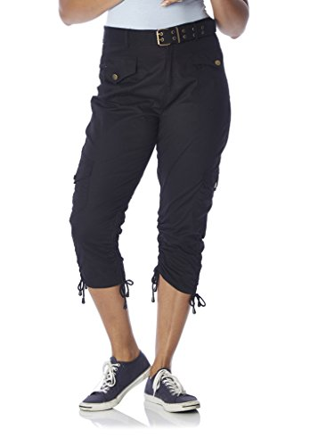 [28204R-BLACK-M] Rouge Collection Capri Pants for Women, Belted, Leg Ties, Stretch Cotton