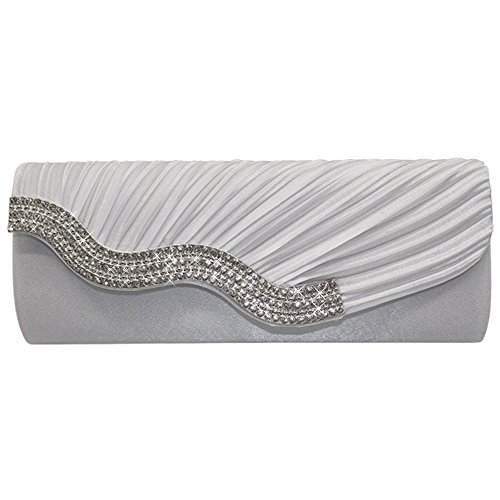 Handbag Purple Cckuu Hand Bag White Satin Crystal Clutch Wedding Shoulder Purse Evening Party IARIq