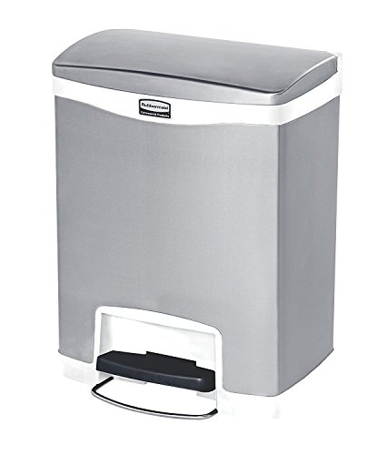 - Rubbermaid Commercial Slim Jim Stainless Steel Front Step-On Wastebasket, 8-gallon, White (1901990)