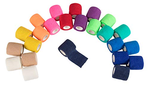 Bandage Wraps - 24-Pack Self Adherent Wraps, Self Adhesive Gauze Roll, Cohesive Tape, Medical Tape, First Aid Supplies for Sports, Wrist, Ankle, Multicolored, 2 Inches x 5 Yards