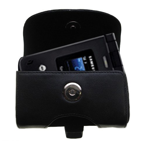 Belt Mounted Leather Case Custom Designed for the Samsung SPH-A900 / MM-A900 Blade - Black Color with Removable Clip by Gomadic