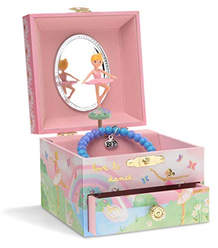 JewelKeeper Musical Jewelry Box with Spinning Ballerina, Rainbow and Gold Foil Design, Swan Lake Tune ()