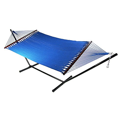 Sunnydaze Large 2 Person Soft-Spun Polyester Spreader Bar Rope Hammock with Stand, Blue, 350 Pound Capacity