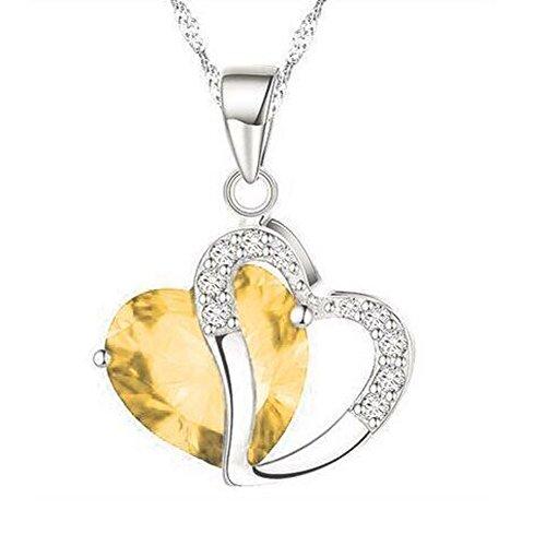 Bling Stars Swarovski Element Crystal Accent Topaz November Birthtone Heart Shaped Pendant Necklace Topaz Crystal Star