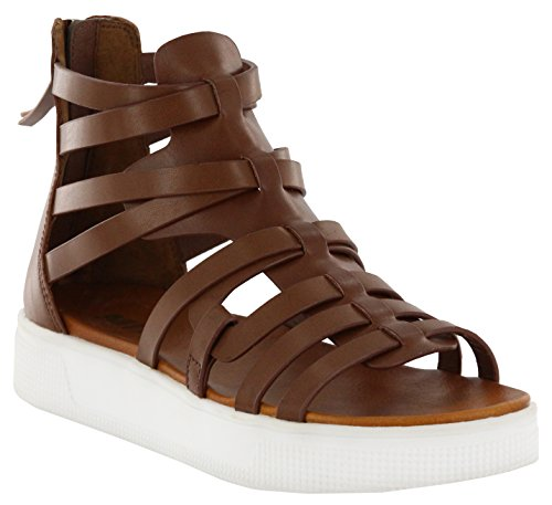 - MIA Amore Womens Elsie Open Toe Casual Strappy Sandals, Cognac, Size 8.5