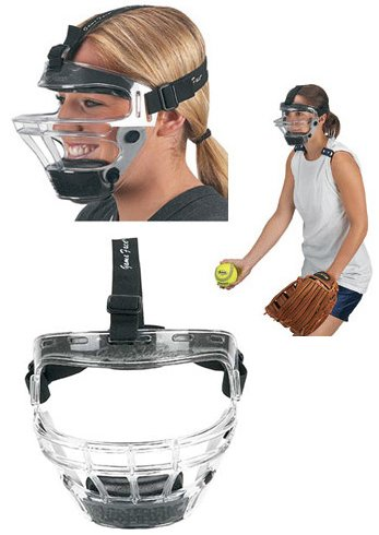 Authentic Softball Shop Medium Clear Mask Game Face Sports Safety Mask with Royal Blue Ponytail Harness
