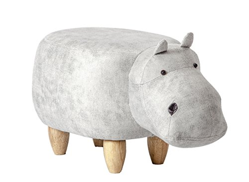PIQUU Padded Soft Hippo Ottoman Footrest Stool/Bench for Kids Gift and Adults (Grey) by PIQUU