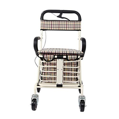 Seat & Roller Bar Covers Elderly Walker Trolley Rack Elderly Special Aluminum Four-Legged Cane Foldable Can Sit Light Scooter (Color : White, Size : 8560cm)
