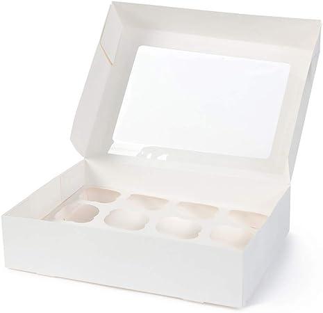 BIOZOYG Cajas para 12 Magdalenas, Cupcake Muffin con Inserto y Ventana de visión Grande I 100