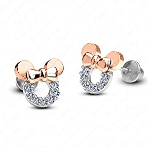 Gemstar Jewellery 18K Rose & White Gold Plating Round Cut Cubic Zirconia Minnie Mouse Disney Earrings