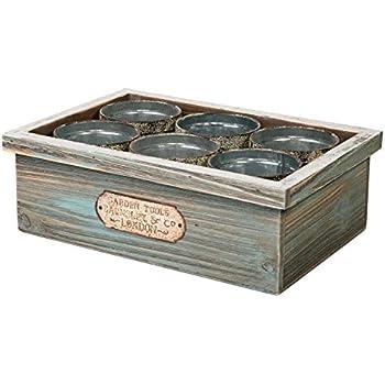 SLPR Wooden Crate with Tin Cans   Succulent Planters Cactus Flower Plant Pot Container Mini Pots Wooden Storage