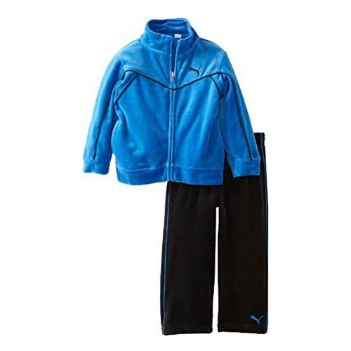 hot PUMA Toddler Boys 2 Piece Blue & Black Velour Jacket & Pants Set free shipping