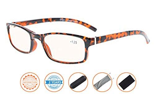 UV Protection,Anti Blue Rays,Reduce Eyestrain,Folding Computer Reading Glasses(Tortoiseshell,Amber Tinted Lenses) - Lenses Tinted Blue