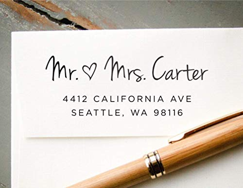 Custom Self-Inking Heart Return Address Stamp, Save the Date Addressing Stamp, Personalized Rubber Stamp ()