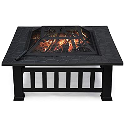 """Yaheetech 32"""" Outdoor Metal Firepit Backyard Patio Garden Square Stove Wood Burning Fire Pit with Cover"""