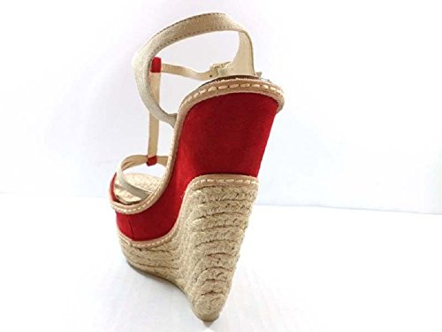 Zapatos Mujer EDDY DANIELE 38 Sandalias Cuñas Beige Rojo Gamuza AX614