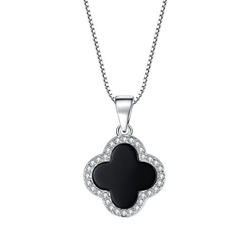 Merdia S925 Sterling Silver Black Onyx Synthesis Cubic Zirconium Four Leaf Clover Necklace for Women
