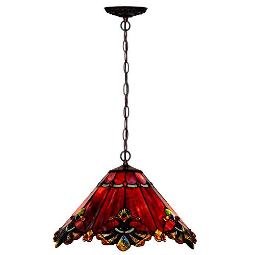 Tiffany-Style Chandelier, Simple Stained Glass Art Red Pendant Light, Wedding Room Dining Ceiling Light, 17-Inch, ()