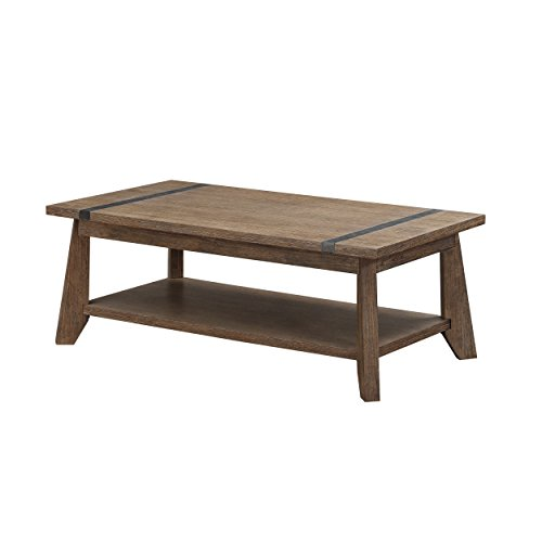 Emerald Home Viewpoint Driftwood Gray Coffee Table with Open Storage Shelf And Metal Detailing (Shelve Cocktail Table Set)
