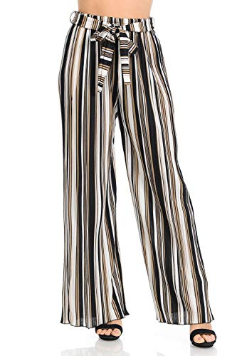 - Auliné Collection Womens Accordion Pleated High Waisted Wide Leg Palazzo Pants - Earth Tone Stripe S/M