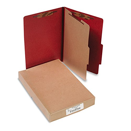 (ACCO 16034 Pressboard 25-Pt Classification Folders, Legal, 4-Section, Earth Red, 10/Box)