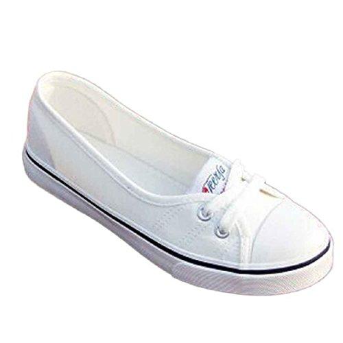 Vovotrade Frauen Fashion Canvas Wohnungen Loafers beiläufigen Breathable Wohnungen feste Schuhe (Size:37, Weiß)