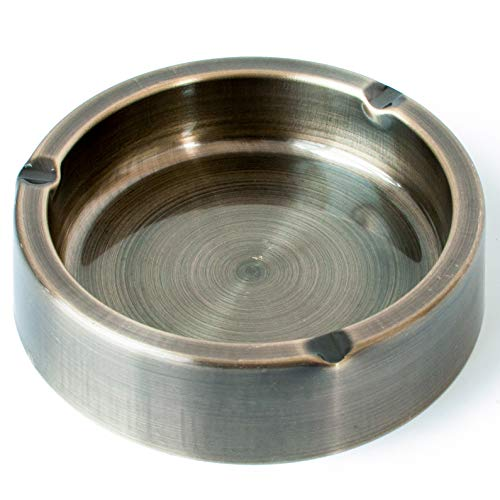 (Tircuger Stainless Steel Classic Ashtray for Cigarettes Vintage Metal Ashtrays Green (Large))