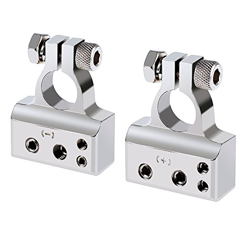 AUTOUTLET 2PCS Car Battery Terminal 4/8 Gauge AWG Chrome Battery Terminals Connector Kit Positive & Negative Set by AUTOUTLET