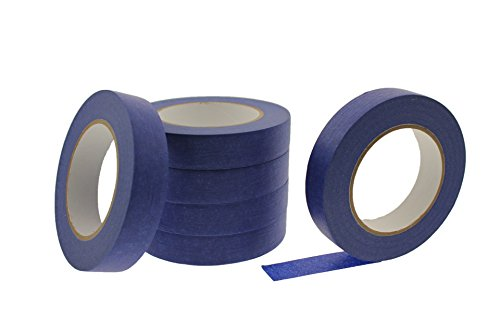 6pk 1'' x 60 yd Blue Painters Tape PROFESSIONAL Grade Masking Edge Trim Easy Removal MADE IN USA Textured Crepe Paper Very Sticky Drywall Painting Latex Paint 21 Day Clean Easy Removal (24MM .94 in) by BlackCore