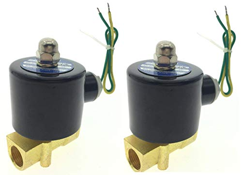 """YXQ 2Pcs AC 110V Electric Solenoid Valve 3/8""""Female Thread Brass Electric Controller Electromagnetic Control Liquid Water Gas Normally Closed Common to Air and Diesel"""