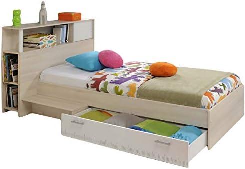 Función cama 90 * 200 cm gris con anstell Estantería Cabecero + cama (cama infantil cama juvenil – Tumbona Cama Cama juvenil habitaciones