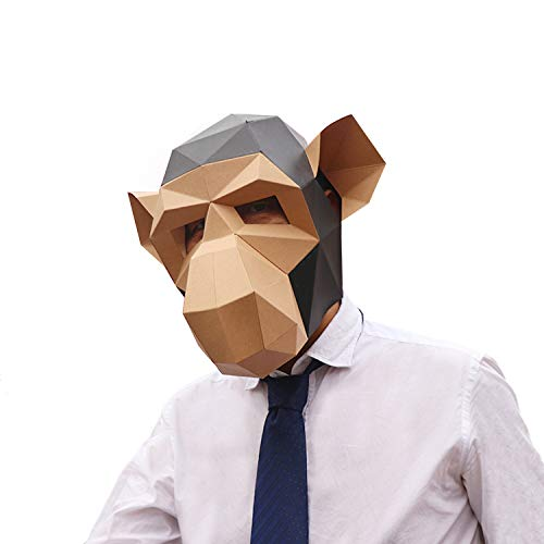 VIPbuy 3D Paper Mask Template Animal Head Mold DIY Low-Poly Paper Craft Kit for Costume Cosplay Party (Gorilla Pattern) for $<!--$13.99-->