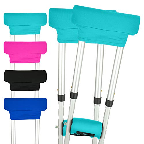 Vive Crutch Pads - Padding for Walking Arm Crutches - Universal Underarm Padded Forearm Handle Pillow Covers for Hand Grips - Soft Foam Armpit Bariatric Accessories for Adults, Kids (1 -