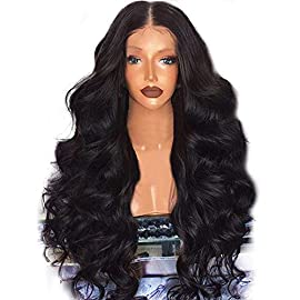 Womens Long Wigs,Black Brazilian Human Hair Body Wave Lace Front Human Hair Middle Part Wigs Shipping from USA