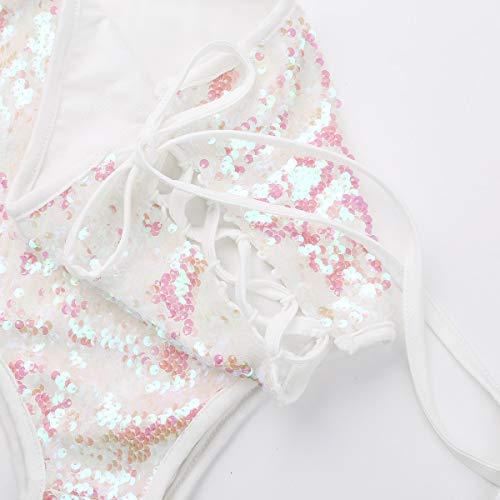 schön iixpin Damen Glänzendes Tanga Bikinihose String Pailletten Bikini Unterwäsche Slip Club Fasching Kostüm Tanz Unterwäsche Rosa OUBBiVoI