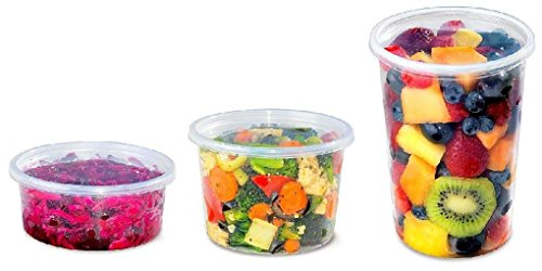 8 16 32 oz Round Clear Plastic Food Cups w/Lids 100 Each -REF# 81632-CCL100 by Osislon Series