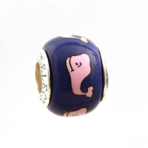 Whale on Royal Blue Bead Charm .925 Sterling by MAYselect