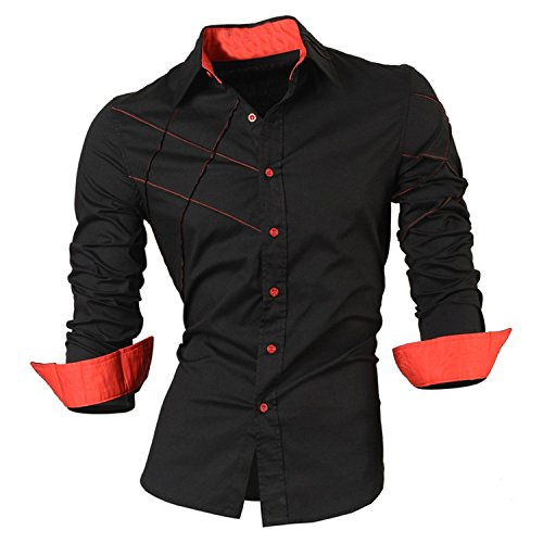 LOKOUO Slim NEW casual shirts dress male mens clothing long sleeve social slim cotton western button white black Cool (Acne Jeans Dress)