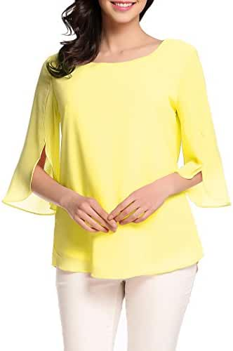 ACEVOG Womens Casual Chiffon Ladies Scoop Neck 3/4 Sleeve Blouse Tops