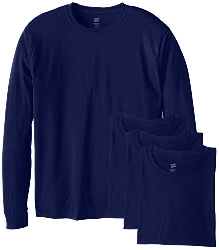 Hanes ComfortSoft Men's Long-Sleeve T-Shirt 4-Pack Navy M