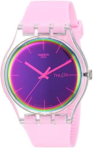 Swatch Transformation Quartz Silicone Strap, Pink, 20 Casual Watch (Model: SUOK710)