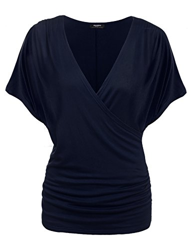 (Zeagoo Womens V Neck Short Sleeve Wrap Front Drape Dolman Top Navy Blue)