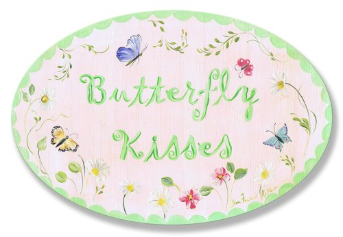 The Kids Room by Stupell Butterfly Kisses Oval Wall Plaque, 10 x 0.5 x 15, Proudly Made in USA
