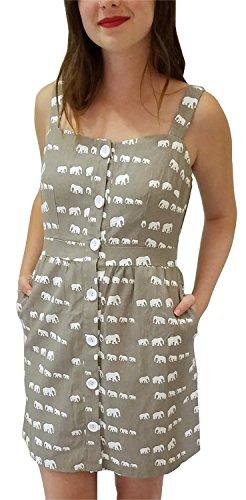 in Elephant Down in a Gray Button Print Row Women's Dress Ducks dqnHYd