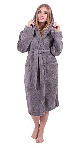 Turkuoise Women's Turkish Cotton Hooded Robe, Terry Hooded Bathrobe (Large/One Size, Gray)